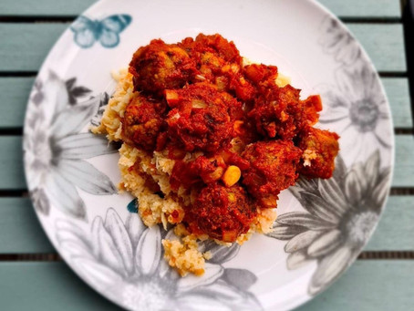 Vegan Meatballs and Cauliflower Mash