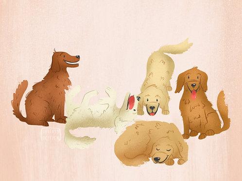 Golden Retriever pups 5x7 print