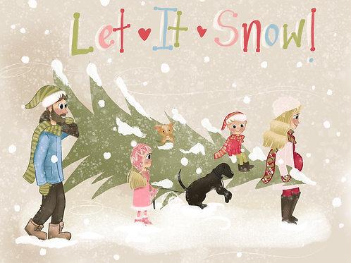 Portrait Christmas Tree Card digital file • Personalized Holiday Card • Custom I