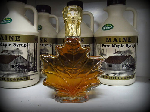 Maine Maple Syrup--100 ml Glass Maple Leaf