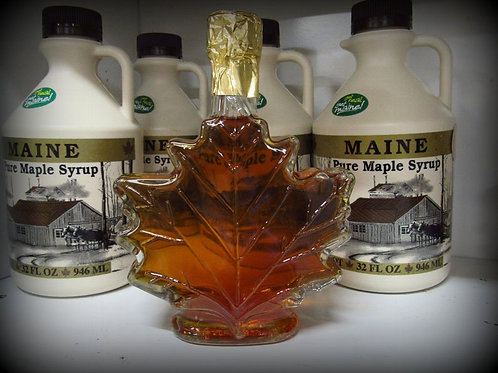 Maine Maple Syrup--250 ml Glass Maple Leaf