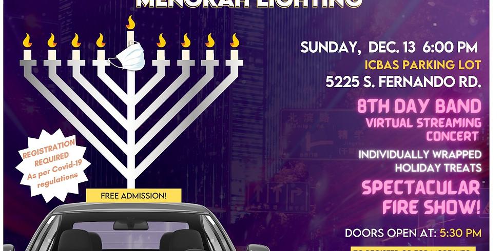 Drive in Menorah Lighting