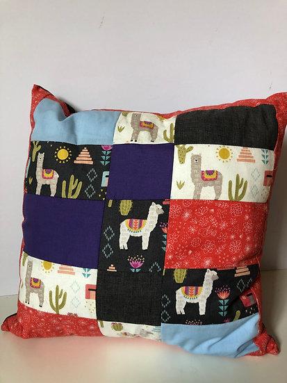 Medium Patchwork Alpaca Print Cushion