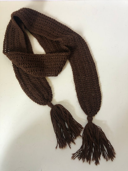 Brown Narrow Crochet Scarf
