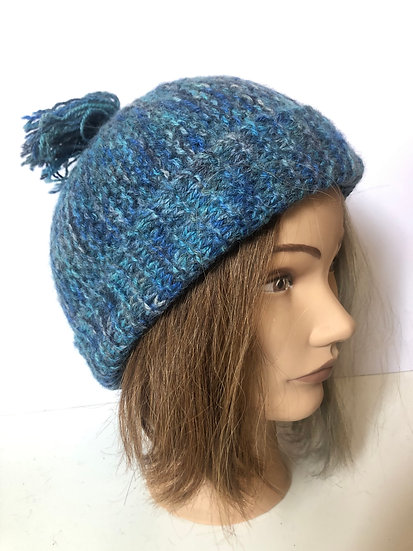 Hand Dyed Blues mix Bobble Hat (L)