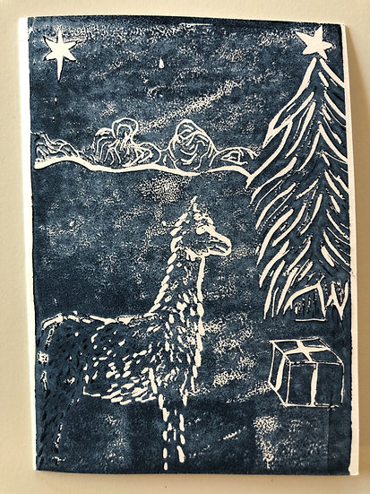Lino Print Christmas Cards (Pack of 5)