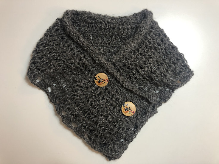 Blueberry Grey Crochet Collar Scarf