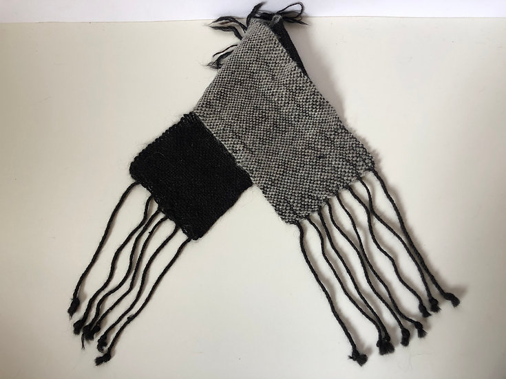 Woven Mixed Black and Grey Collar Scarf
