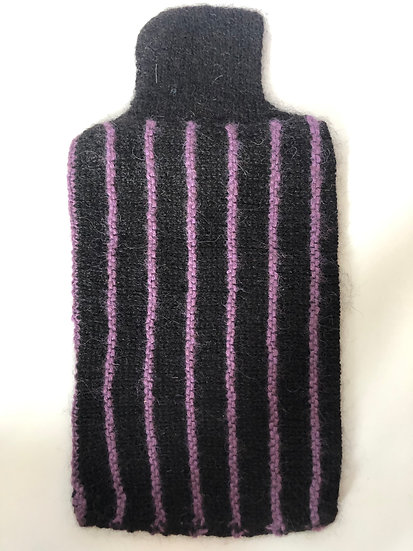 Black and Purple Hot Water Bottle Cover