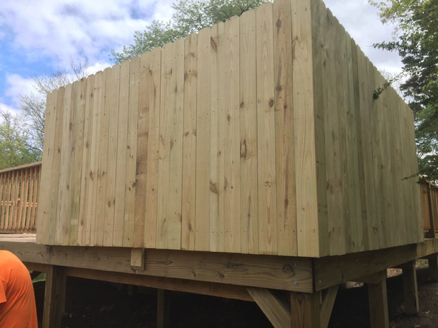Wooden Privacy Fence on custom deck