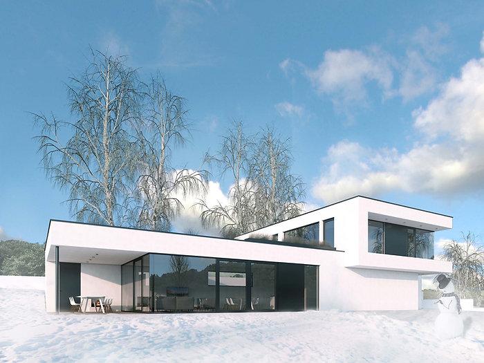 Moderní rodinná vila v Jihlavě vizualizace zima DREAM HOMES PLAVEC