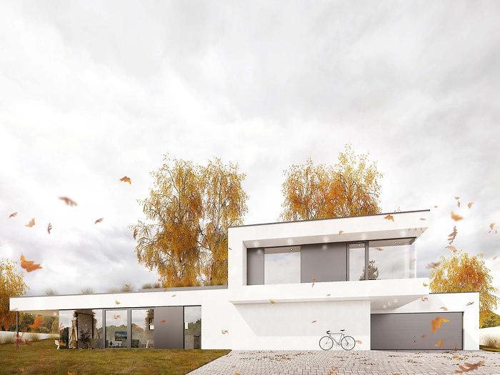 Moderní rodinná vila v Jihlavě vizualizace podzim DREAM HOMES PLAVEC
