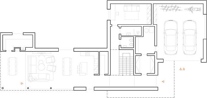 Moderní rodinná vila v Jihlavě půdorys přízemí DREAM HOMES PLAVEC