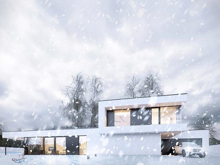 Moderní rodinná vila v Jihlavě Vizualice zima DREAM HOMES PLAVEC