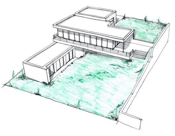 DREAM HOMES - skica - moderní dům - plavec