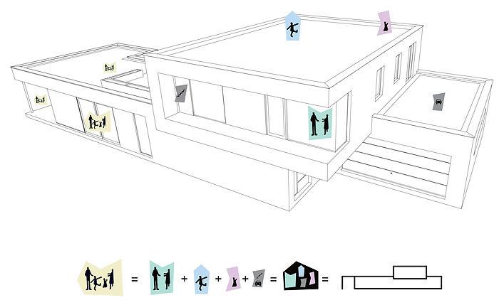 Moderní rodinná vila v Jihlavě axonometrické schéma Dream Homes Plavec