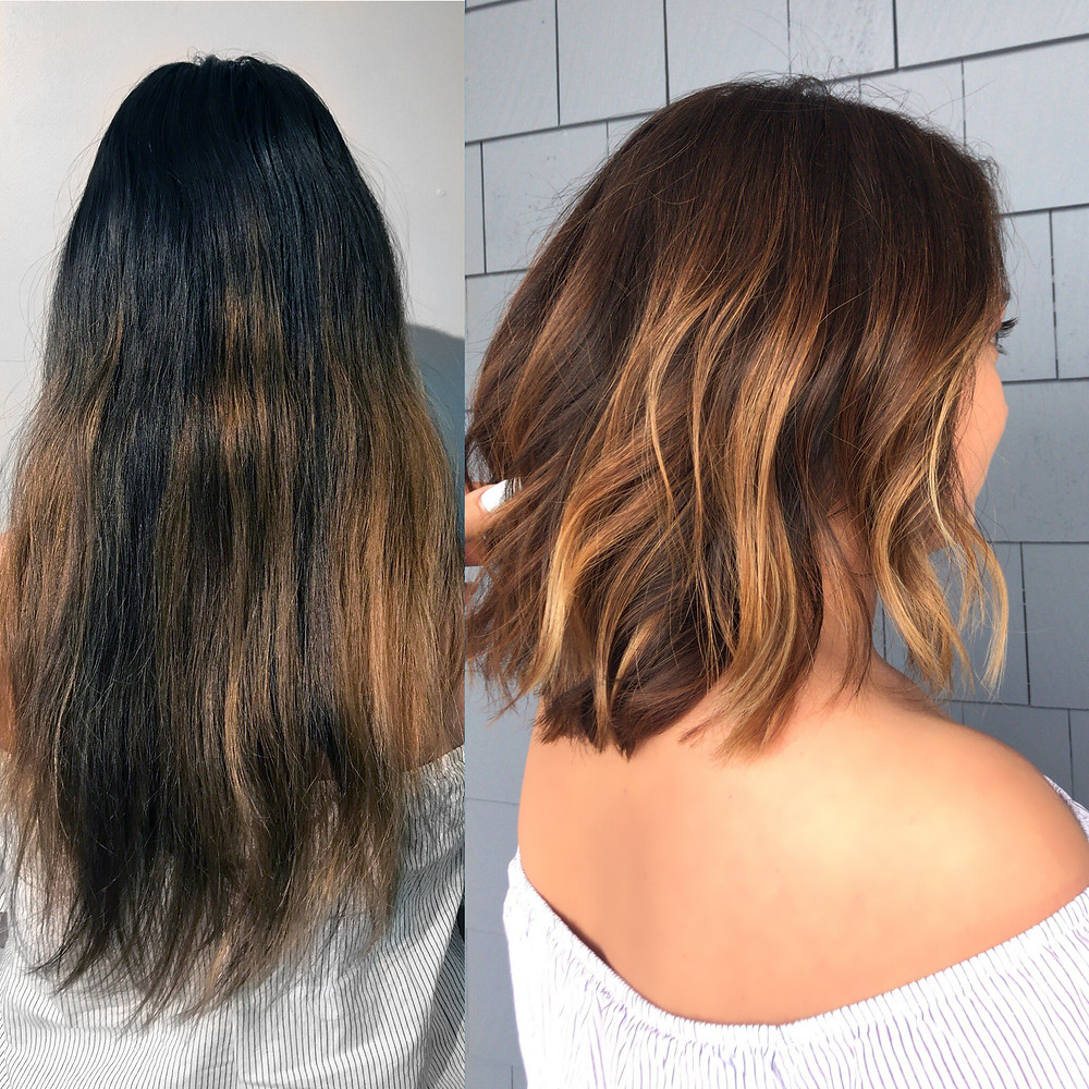 Lob cut and Balayage color