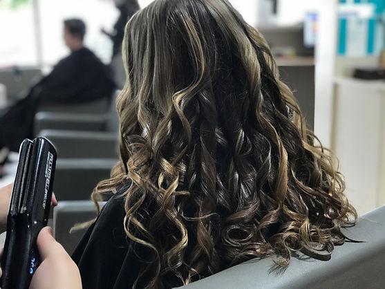 Flat iron hair styling