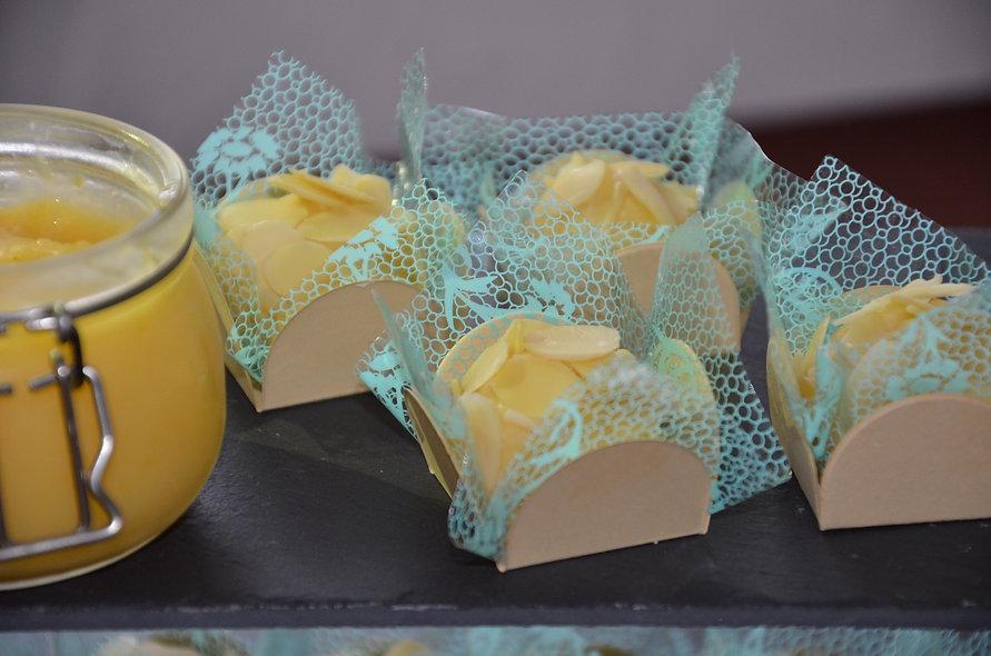 Brazilian Almond flakes, lemon curd and white chocolate truffles