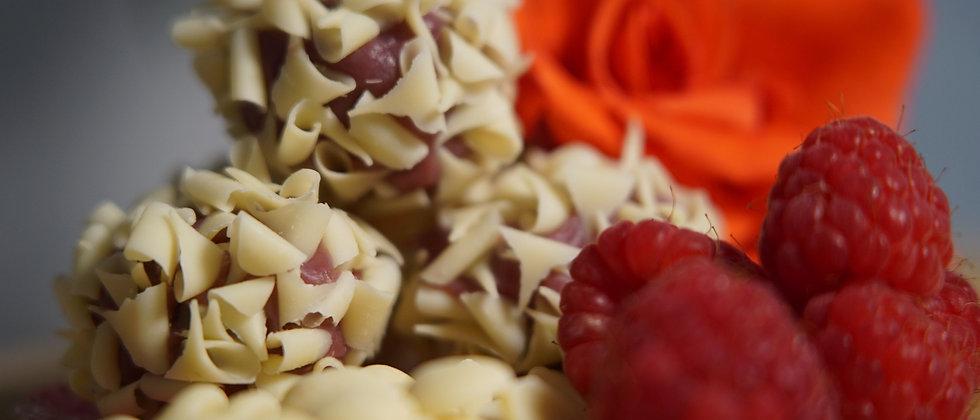 Brazilian raspberry and white chocolate truffles