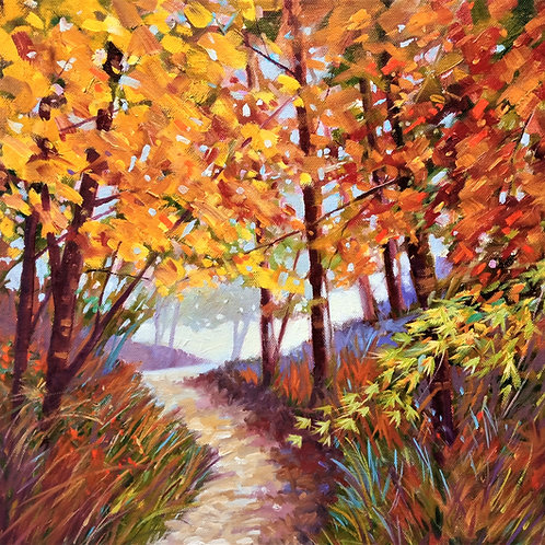 "Autumn Forest   Oils  15.5"" x 15.5"" (Framed)"