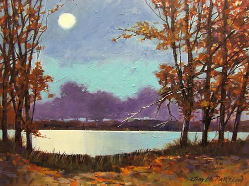 "Moonlight on Lake 16""x12"""