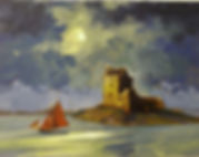 A painting of Dun Guaire Castle in Kinvara, Donegal, Ireland