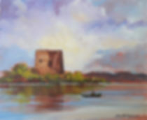 Painting of a ruin by a lake in Ireland