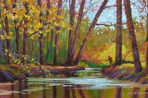 "Fishing on Headfort River 18""x11"""