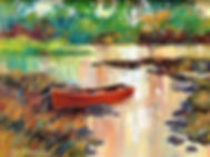 Painting of Red Boat on Lough Sheelin, Cavan, Ireland