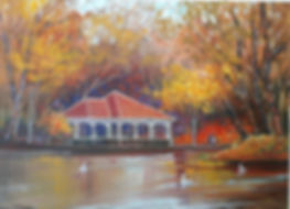 An oil painting of The Pond i  St Stephens Green Dublin Ireland
