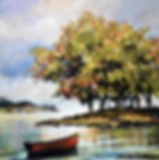 A paining of a boat on a lake in Cavan, Ireland
