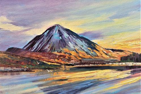 "Errigal Mountain, Donegal.  Oils 14"" x 9.5"""