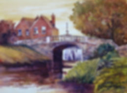 A watercolor painting of Huband Bridge in Dublin, Ireland