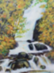 A painting of Torc Waterfall in Killarney, Kerry, Ireland