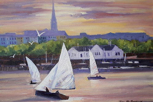 """Yachts at Dun Laoire 16""""x12"""""""
