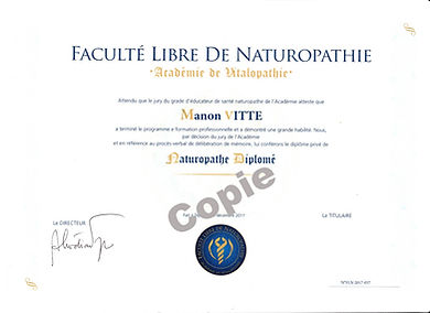 Diplome de naturopathie Manon Vitte