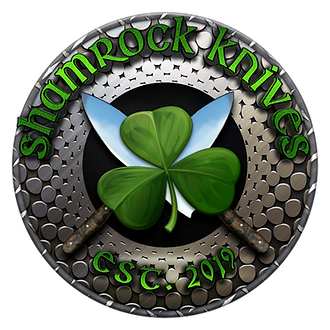Shamrock Knives Logo with a Shamrock and 2 Kitchen Knives Made by Jim Morrissey