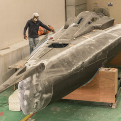 """First yacht """"Aurora"""" in painting process"""