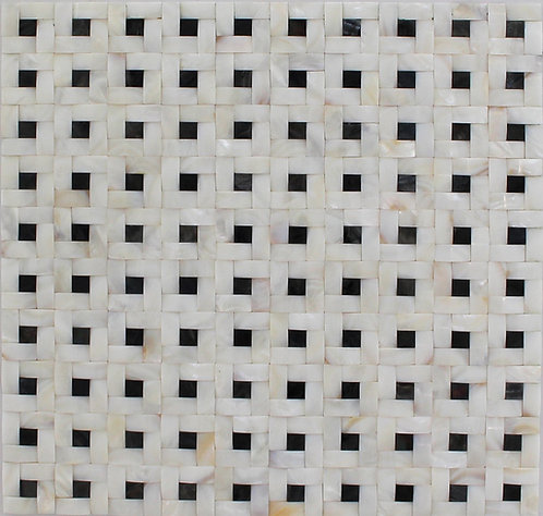 Mother of Pearl White Basketweave with Black Dot