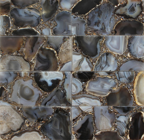 """Agata Khel Stone in a 3""""x6"""" subway tile in a stacked pattern"""