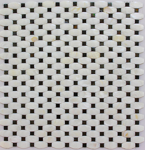 Mother of Pearl White Octagon Weave with Black Dot