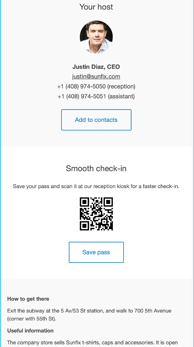 Proxyclick Visitor Invitation with Barcode, Communication Edge