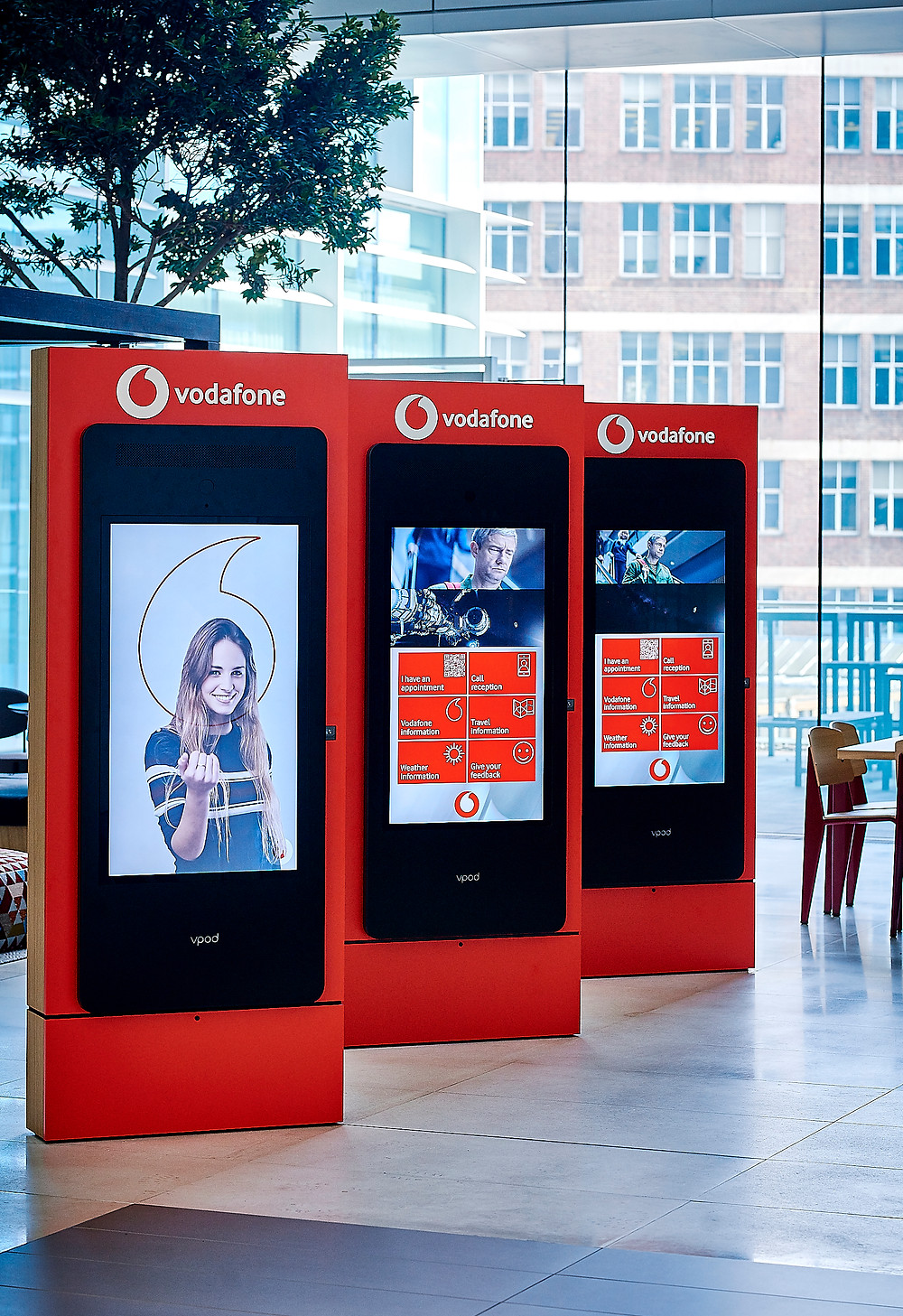 VPod Vgreet Motion and Voice activated check-in kiosks, Communication Edge
