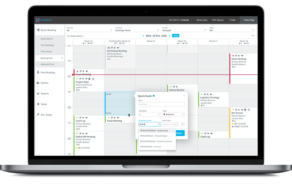 Condeco Desktop Booking Grid, Communication Manager