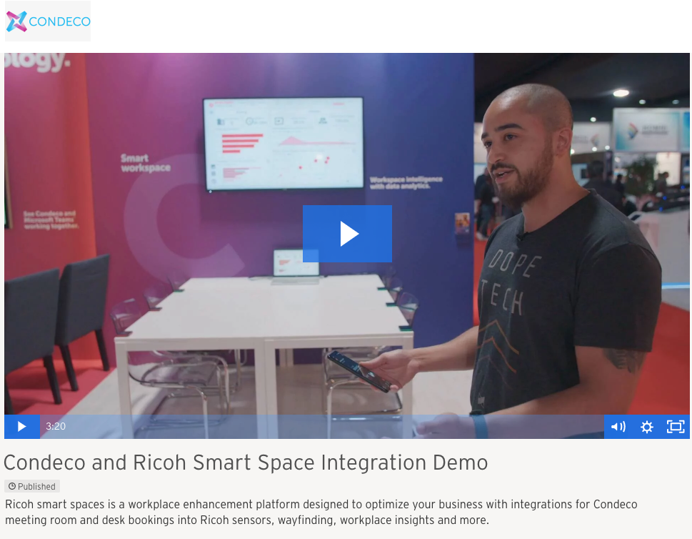 Ricoh Smart Spaces with Condeco Room and Desk Integration, Communication Edge
