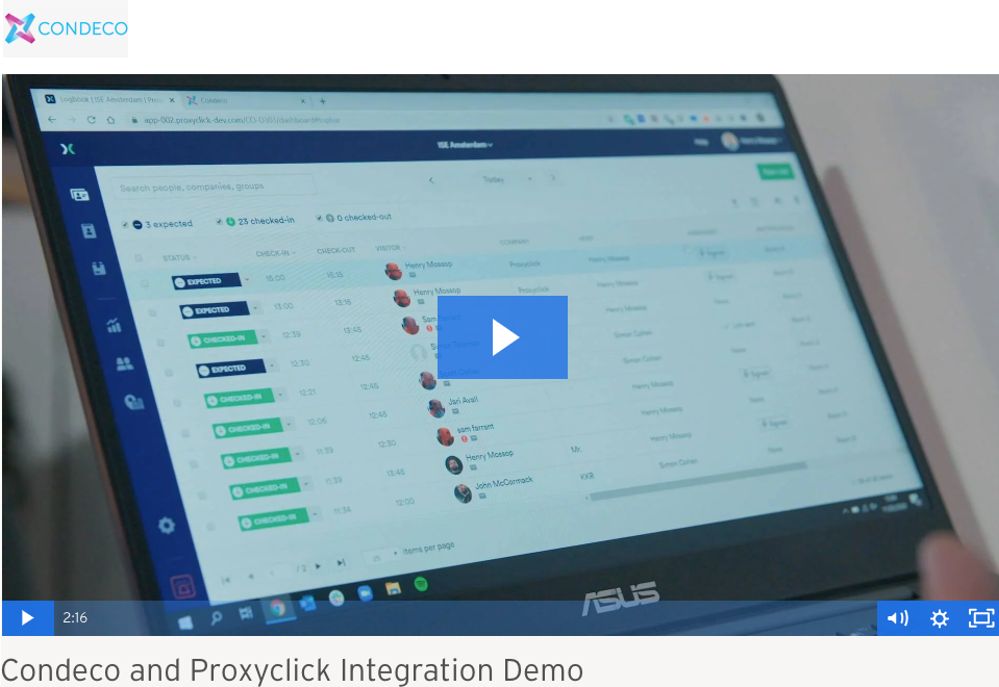 Proxyclick Condeco Integration, hosted on Azure, communication edge