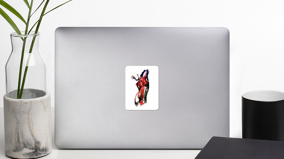 Stroke Piece #1 Art (white & red) Stickers