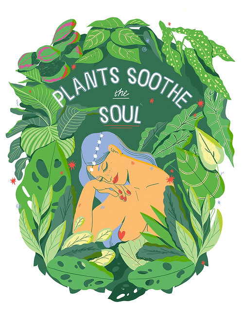 'Plants Soothe The Soul' illustration