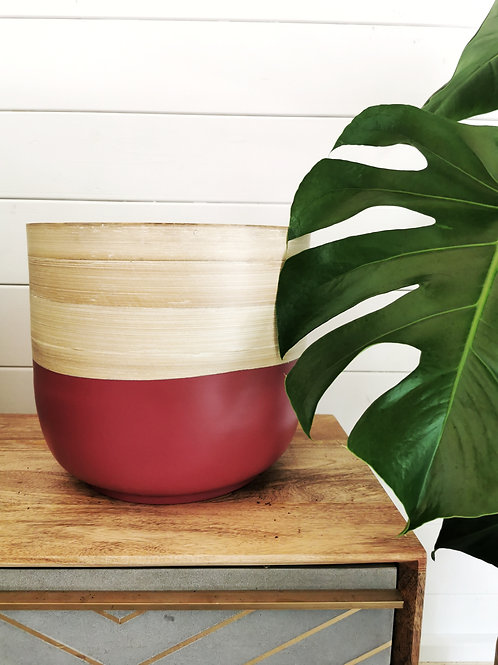Extra Large Bamboo Pink Planter